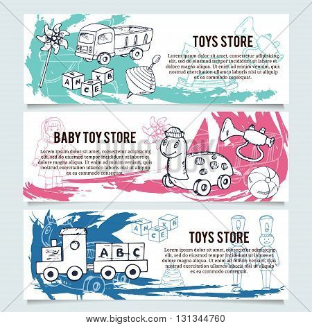 Children toys store banners or website header set. Baby and kid store insignia template