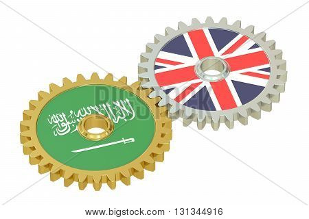 United Kingdom and Saudi Arabia relations concept flags on a gears. 3D rendering isolated on white background