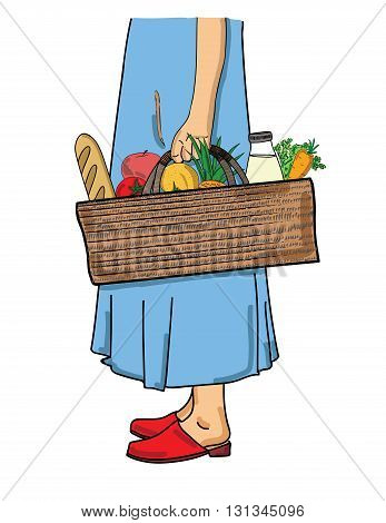 woman holding a shopping basket with foods. vector illustration