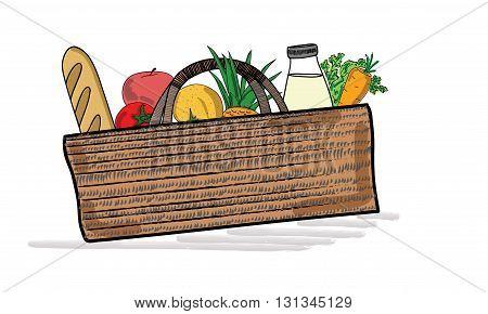 Shopping cart full of healthy organic fresh and natural food. vector illustration