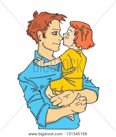 father holding the baby in her arms. father's day. vector illustration
