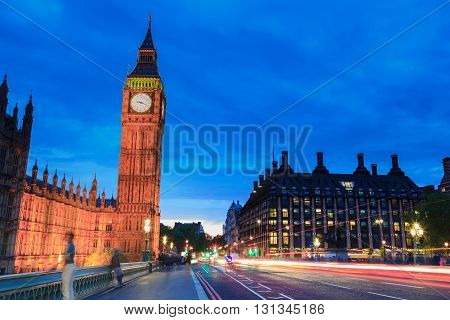Big Ben and house of parliament at twilight London UK