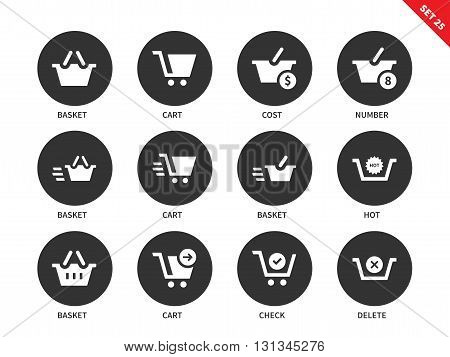 Checkout and verification vector icons set. Shopping and consumerism concept, carts and baskets with signs of price, cost and nimber. Isolated on white background