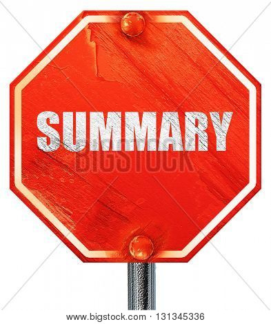 summary, 3D rendering, a red stop sign