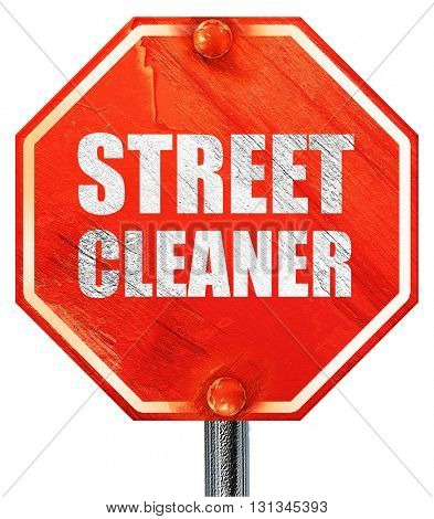 street cleaner, 3D rendering, a red stop sign