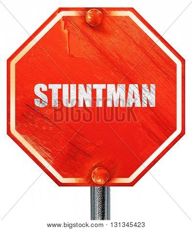 stuntman, 3D rendering, a red stop sign