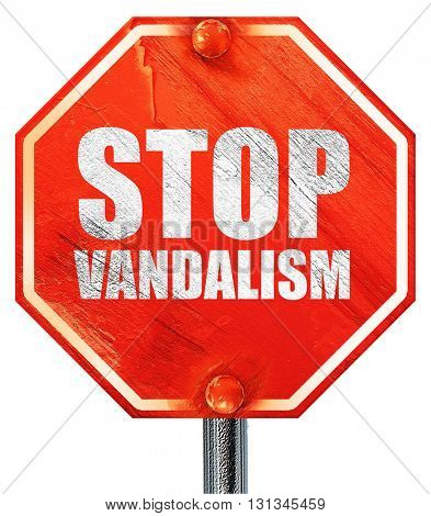 stop vandalism, 3D rendering, a red stop sign
