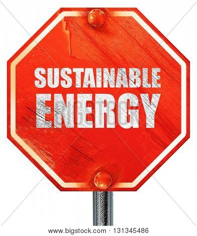 sustainable energy, 3D rendering, a red stop sign