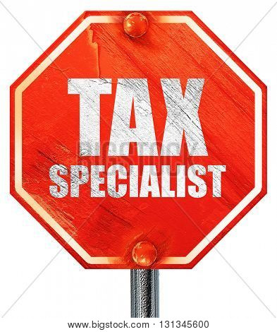 tax specialist, 3D rendering, a red stop sign
