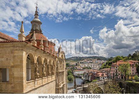 AMARANTE, PORTUGAL - APRIL 22, 2016: Church and roman bridge in historical town Amarante, Portugal