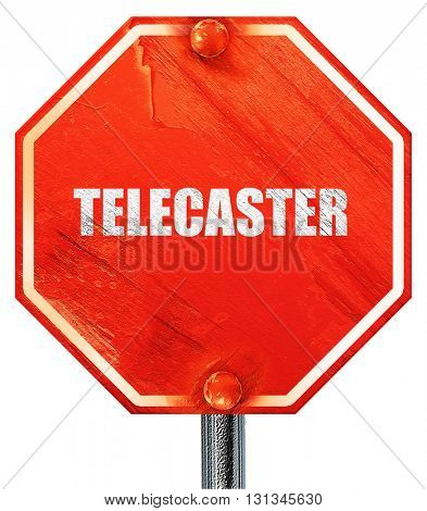 telecaster, 3D rendering, a red stop sign