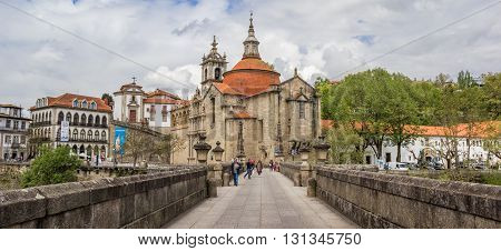 AMARANTE, PORTUGAL - APRIL 22, 2016: Old Roman bridge and convent in Amarante, Portugal