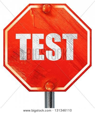 test, 3D rendering, a red stop sign
