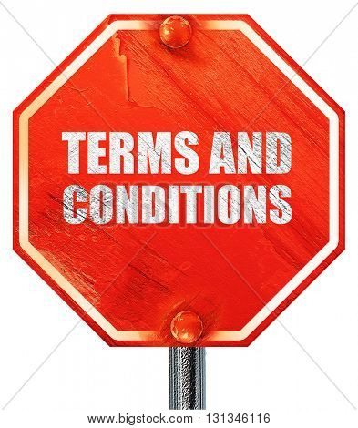 term and conditions, 3D rendering, a red stop sign