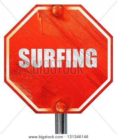 surfing, 3D rendering, a red stop sign