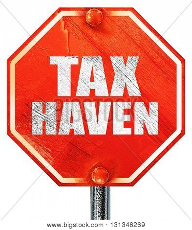 tax haven, 3D rendering, a red stop sign