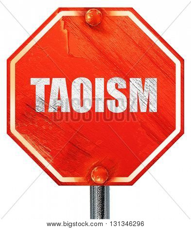 taoism, 3D rendering, a red stop sign