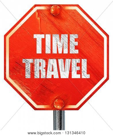time travel, 3D rendering, a red stop sign