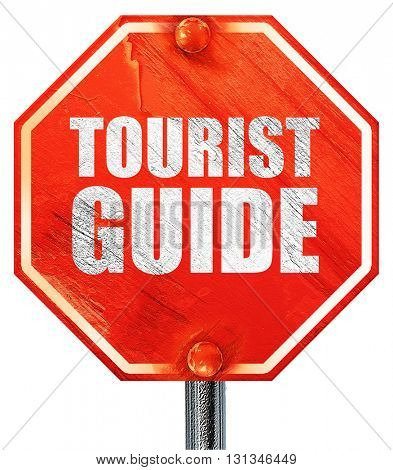tourist guide, 3D rendering, a red stop sign