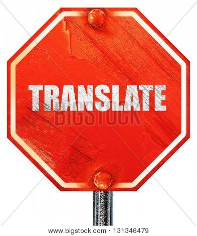 translate, 3D rendering, a red stop sign
