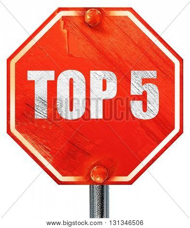 top 5, 3D rendering, a red stop sign