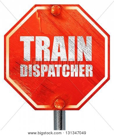 train dispatcher, 3D rendering, a red stop sign