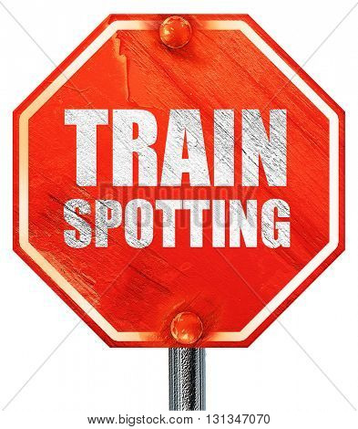 trainspotting, 3D rendering, a red stop sign