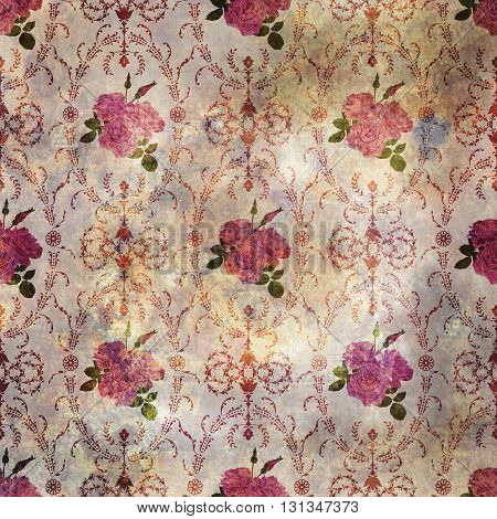 Beautiful seamless pink rose pattern grunge old style with baroque background ornamental