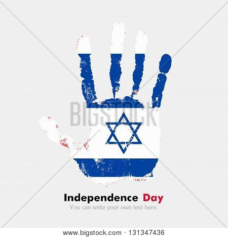 Hand print, which bears the Flag of Israel. Independence Day. Grunge style. Grungy hand print with the flag. Hand print and five fingers. Used as an icon, card, greeting, printed materials.