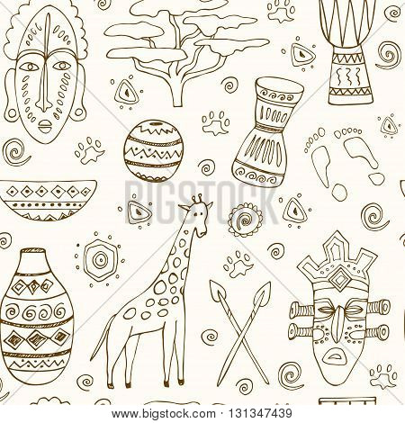 Africa sketch seamless pattern Isolated vector illustration