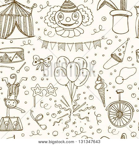 Hand drawn sketch circus seamless pattern. Vector illustration of circus for design and packages product.