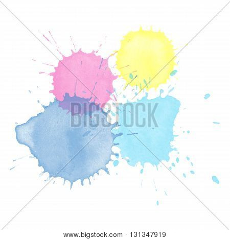 Watercolor splash of hand-drawn. Beautiful vector watercolor background. Watercolor texture on white. Colorful watercolor pattern.
