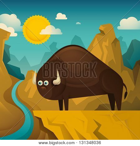 Comic bison standing on the cliff. Vector illustration.
