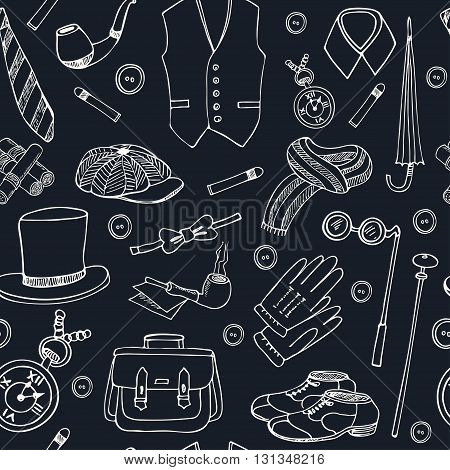 Gentleman vintage accessories doodle seamless pattern Sketches. Hand-drawing. Vector illustration of for design and packages product.