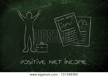 Income Report And Happy Business Man, Positive Net Income