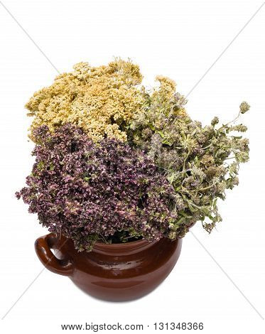 Curative herbs in a clay pot. The pot is isolated on the white background.