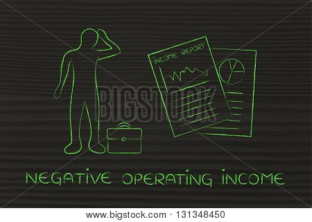 Income Results & Stressed Business Man, Negative Operating Income