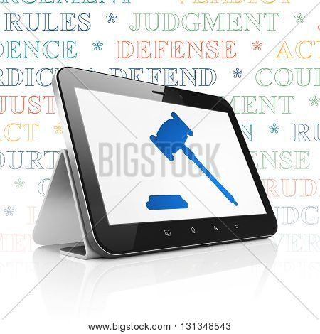 Law concept: Tablet Computer with  blue Gavel icon on display,  Tag Cloud background, 3D rendering