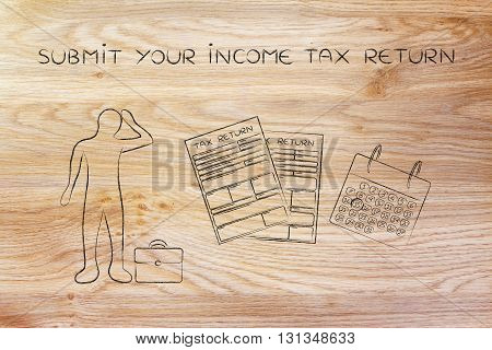 Stressed Man And Tax Forms, Submit Your Income Tax Return