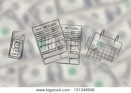 Tax Return Papers With Calendar & Phone Alert