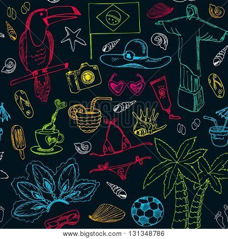 Hand drawn doodle Brazil seamless pattern. Sketchy Icons set. Travel  Collection. Isolated vector illustration.
