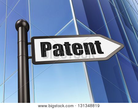 Law concept: sign Patent on Building background, 3D rendering