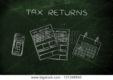 Tax Forms With Calendar & Phone Alert, Caption Tax Returns