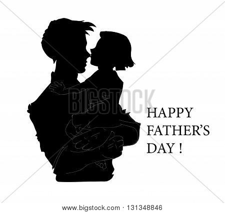 Happy Fathers Day concept with silhouette of father and his child. vector illustration