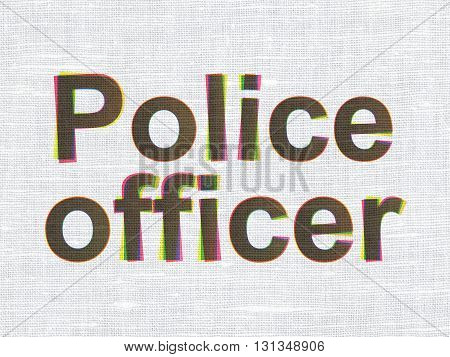 Law concept: CMYK Police Officer on linen fabric texture background
