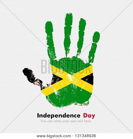 Hand print, which bears the Flag of Jamaica. Independence Day. Grunge style. Grungy hand print with the flag. Hand print and five fingers. Used as an icon, card, greeting, printed materials.