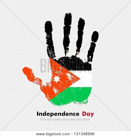 Hand print, which bears the Flag of Jordan. Independence Day. Grunge style. Grungy hand print with the flag. Hand print and five fingers. Used as an icon, card, greeting, printed materials.