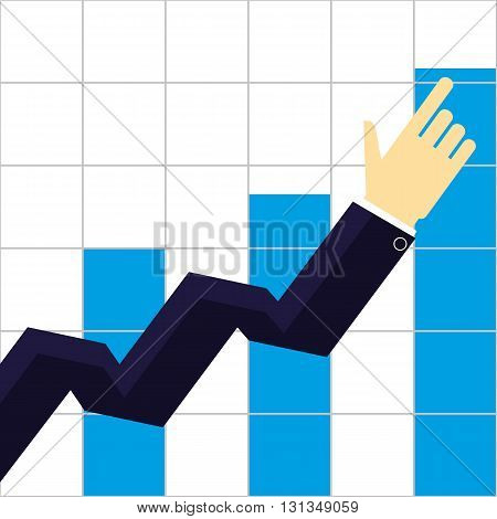 Arm and hand of a businessman pointing the way to increasing growth of sales or profits on a bar chart