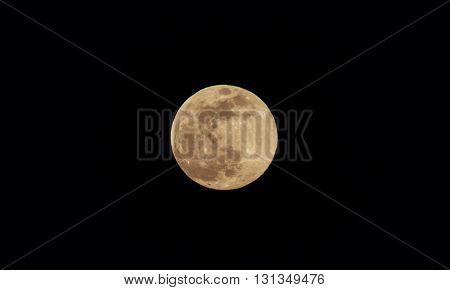 Moon closeup on black sky background