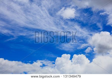 White fluffy clouds on heavenly blue sky